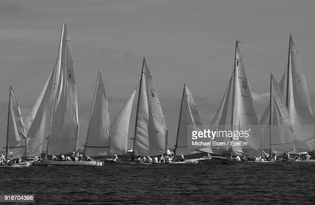 sailboats sailing in sea against sky - voilier noir et blanc photos et images de collection