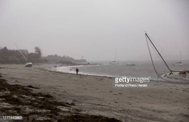 Sailboats washed up on Willard Beach after an overnight nor'easter with high winds on Thursday Oct 17 2019