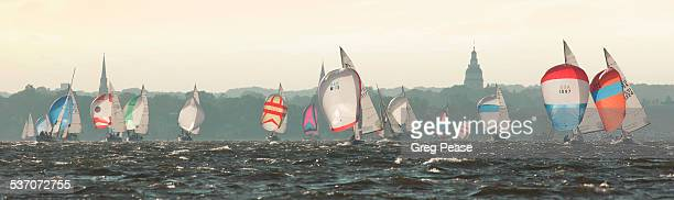 """sailboats with spinnakers racing - """"greg pease"""" stock pictures, royalty-free photos & images"""
