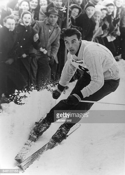 Sailer Toni Sportsman Alpine Skiing Austria skiing down during VII Olympic Winter Games in Cortina d'Ampezzo date unknown 2601