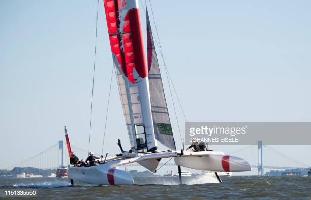 SailGP Team Japan sails their race yacht during racing day one of the SailGP event on June 21 2019 in New York City Six boats with a 78 foot wingsail...