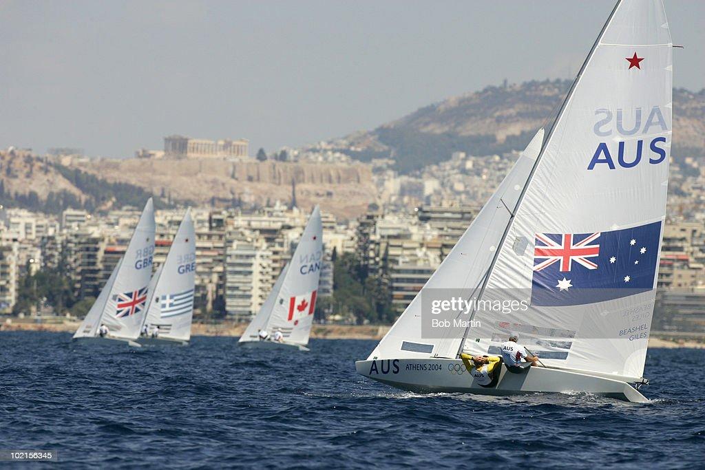 Australia Colin Beashel and David Giles in action during Men's Star Class Final at Agios Kosmas Olympic Sailing Centre, Athens, Greece 8/28/2004