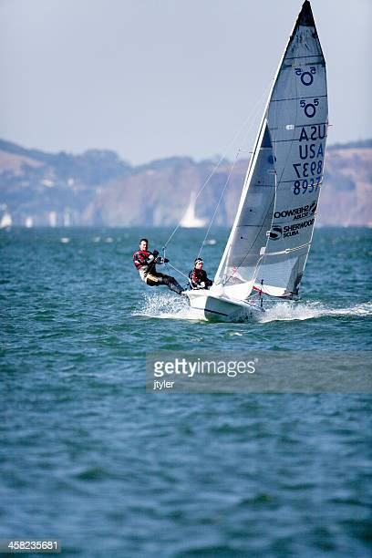 Sailing a 505 Racing Dinghy