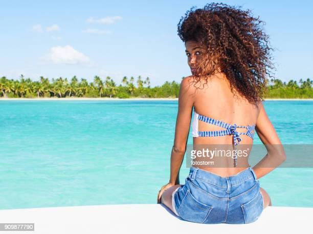 sailing along the caribbean sea - dominican ethnicity stock photos and pictures