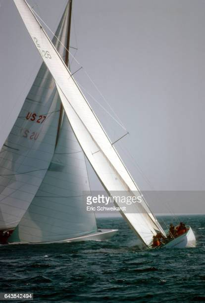 America's Cup Trials Skipper Ted Turner in action aboard Courageous tacking vs skipper Ted Hood aboard Independence during race on Rhode Island Sound...