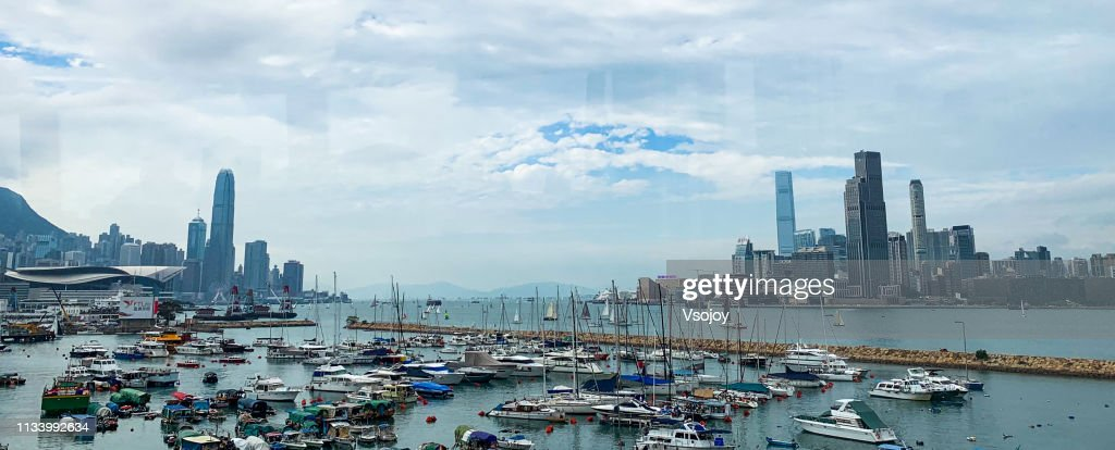 Sailing at The Victoria Harbour Hong Kong : Stock Photo