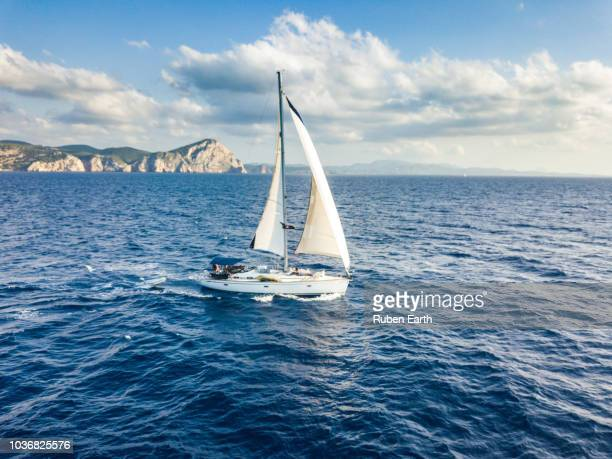 sailing boat aerial view - sailing stock pictures, royalty-free photos & images