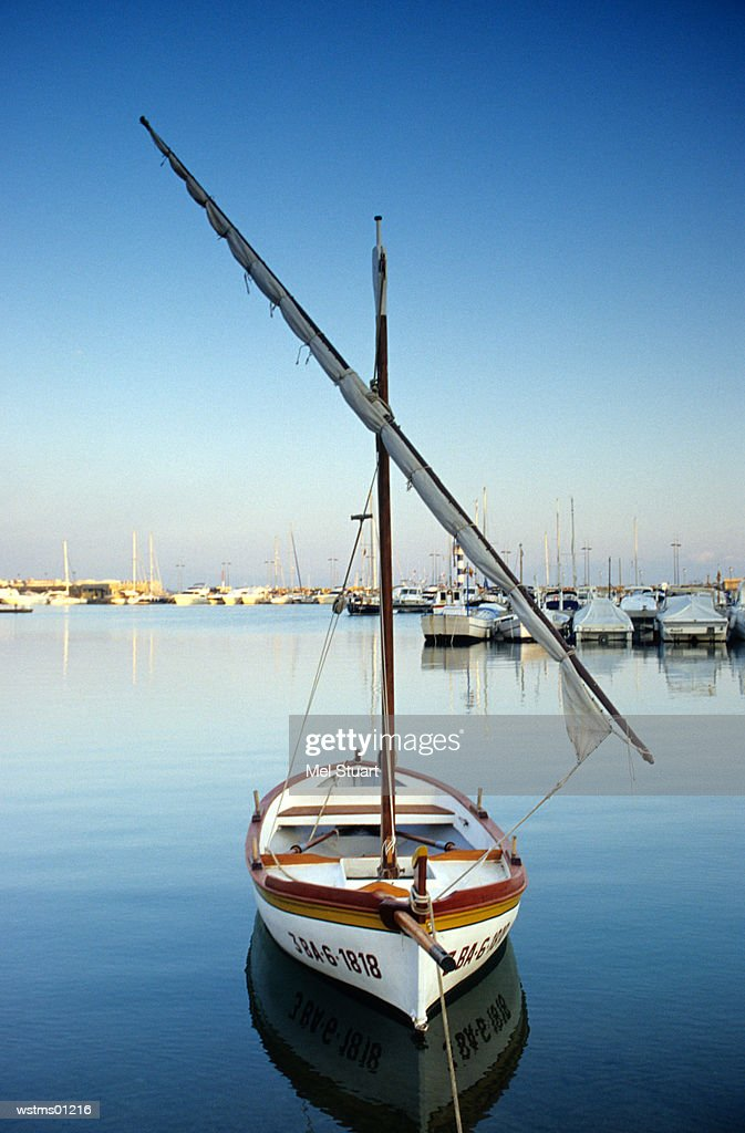 Sailing boat at harbour of Montgri, Costa Brava, Catalonia, Spain : Stock Photo