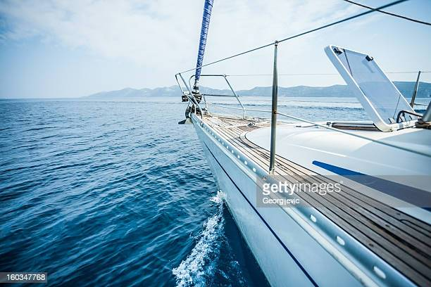 sailing boat in the sea, blue sky - sailing ship stock pictures, royalty-free photos & images