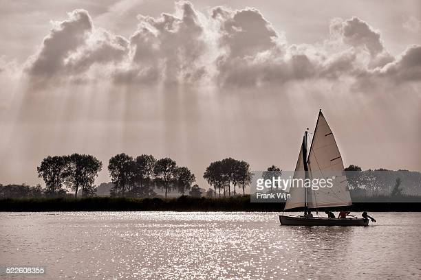 Sailing boat on Dutch lake