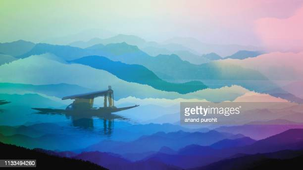 sailing boat on the alpine lake, abstract misty mountain range colourful wallpaper digital art gradiant pastel dramatic backdrop - cachemire motif photos et images de collection