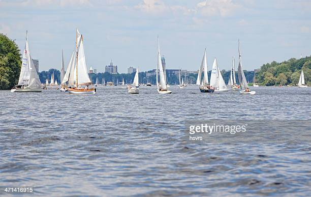 sailing boat on wannsee (berlin - germany) - spandau stock pictures, royalty-free photos & images