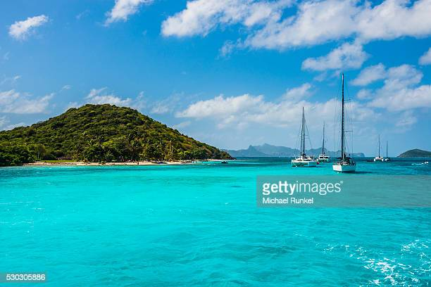sailing boats anchoring in the tobago cays, the grenadines, st. vincent and the grenadines, windward islands, west indies, caribbean, central america - セントビンセント島 ストックフォトと画像