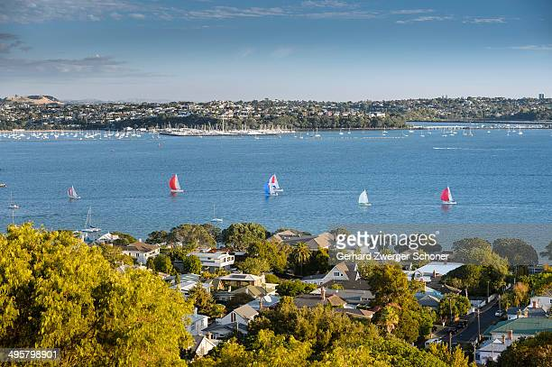 sailing boats at waitemata harbour, auckland, north island, new zealand - waitemata harbor stock photos and pictures