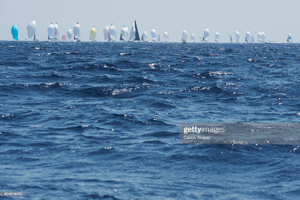 Sailing boats compete during a leg of the 36th Copa del Rey Mapfre Sailing Cup on July 31, 2017 in Palma de Mallorca, Spain.