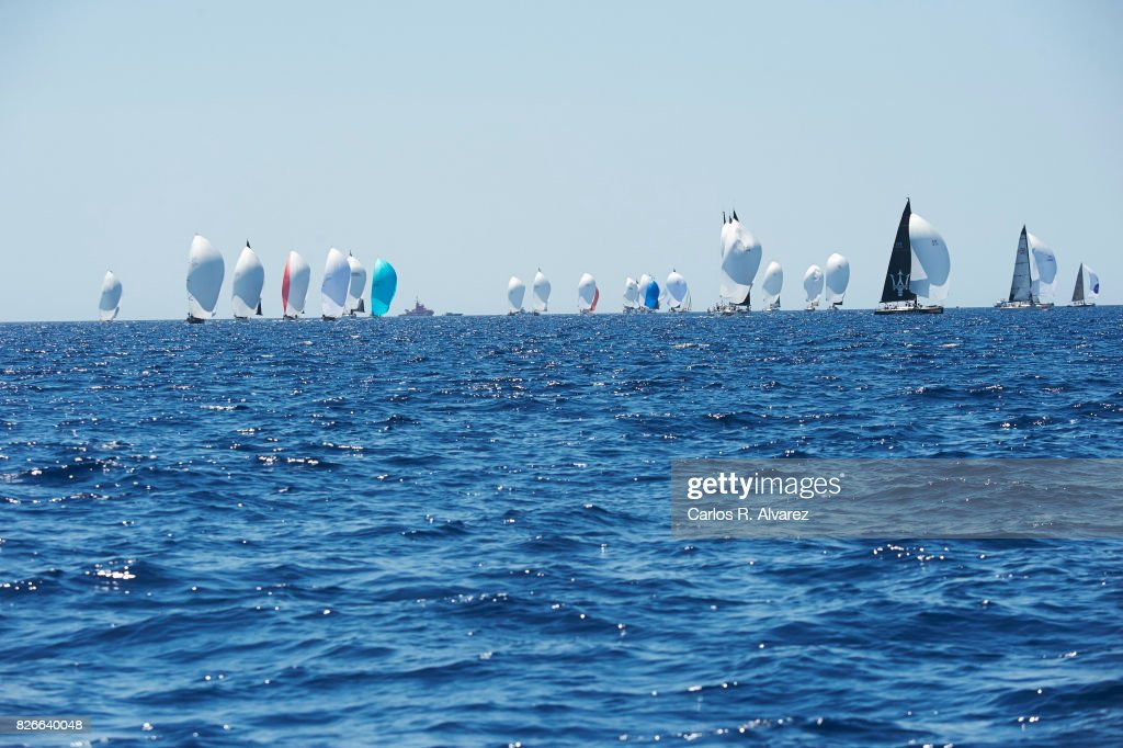 Sailing boats compete during a leg of the 36th Copa del Rey Mapfre Sailing Cup on August 5, 2017 in Palma de Mallorca, Spain.
