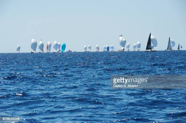 Sailing boats compete during a leg of the 36th Copa del Rey Mapfre Sailing Cup on August 5 2017 in Palma de Mallorca Spain