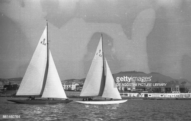 Sailing boats in the final of the winter regattas February 14 Genoa Italy 20th century