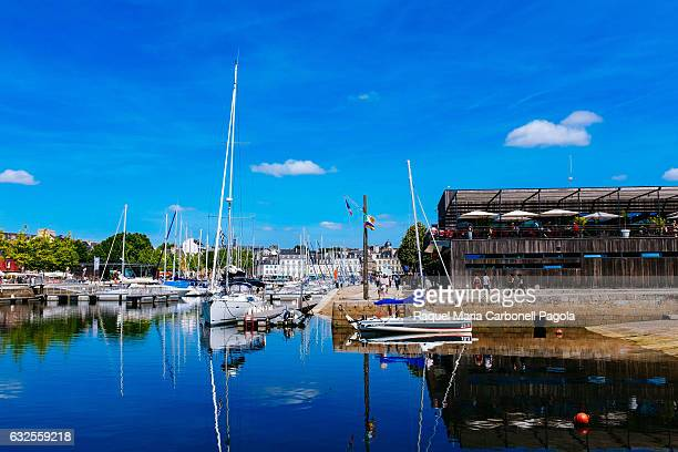 CENTER VANNES BRITTANY MORBIHAN FRANCE Sailing boats moored at the port and Capitainerie building on the right