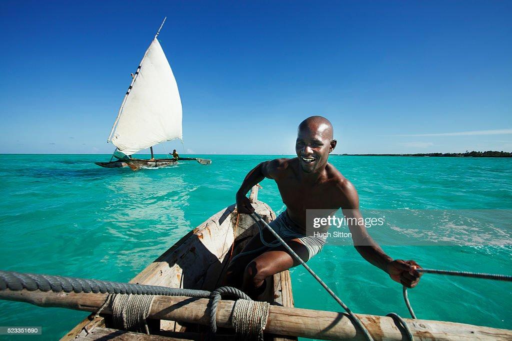 Sailing boats off the coast of Zanzibar. Tanzania. Africa. : Stock Photo
