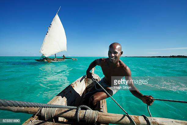 Sailing boats off the coast of Zanzibar. Tanzania. Africa.