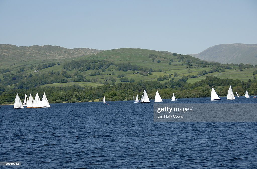 Sailing boats on Lake Windermere : Stock Photo