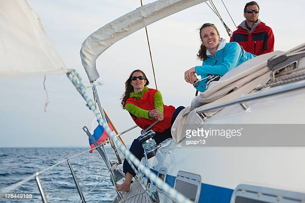 sailing crew in action - sailing team stock pictures, royalty-free photos & images