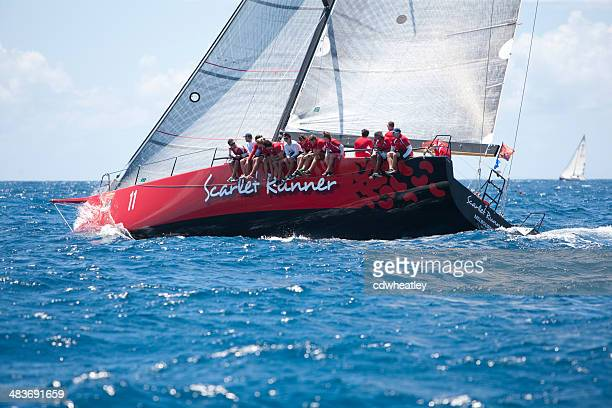 sailing crew on a sailboat 'Scarlet Runner' racing in regatta