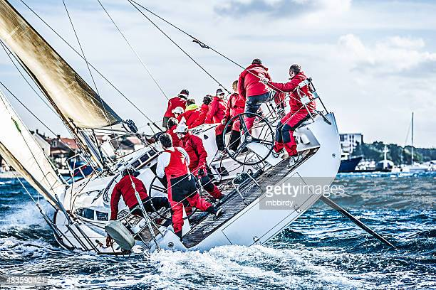 sailing crew on sailboat during regatta - sailor stock pictures, royalty-free photos & images