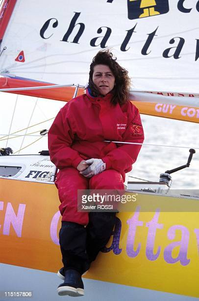 Sailing Florence Arthaud and Jean Le Cam in France on March 23 1996 Florence Arthaud on 'Guy Cotten/Chattawak'