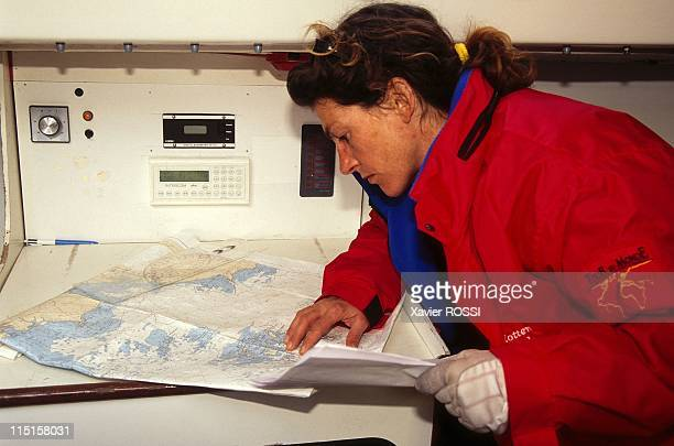 Sailing Florence Arthaud and Jean Le Cam in France on March 23 1996 Florence Arthaud with Maps on 'Guy Cotten/Chattawak'