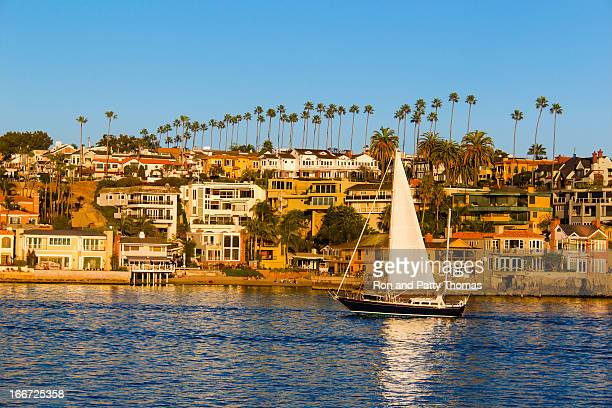 sailing in newport beach, california (p) - newport beach stock pictures, royalty-free photos & images