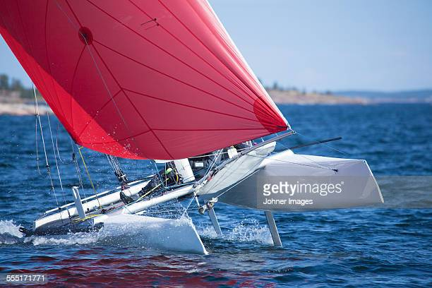 sailing in the archipelago - catamaran stock photos and pictures