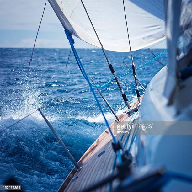 Navigation à voile dans le vent avec voilier