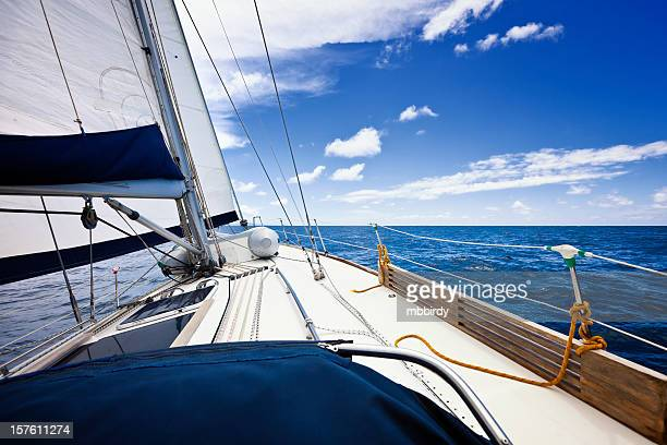 Sailing in the wind with sailboat