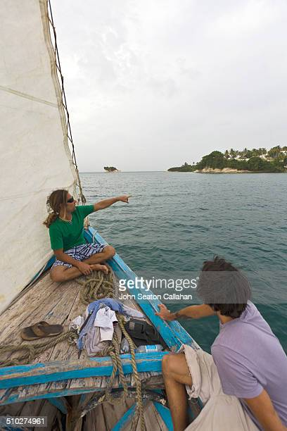 sailing off the ile a vache - vache stock photos and pictures