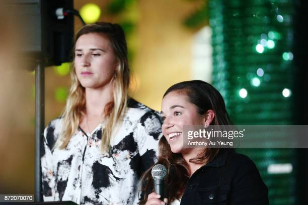 Sailing Olympians Alex Maloney and Molly Meech speak to guests during a special pregame function prior to the round six NBL match between the New...