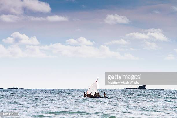 Sailing on a makeshift handmade raft.
