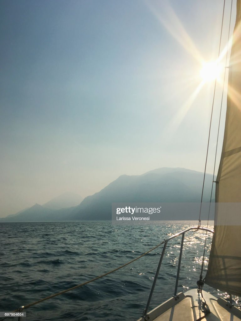 Sailing on Lake Garda, Italy : Stock-Foto