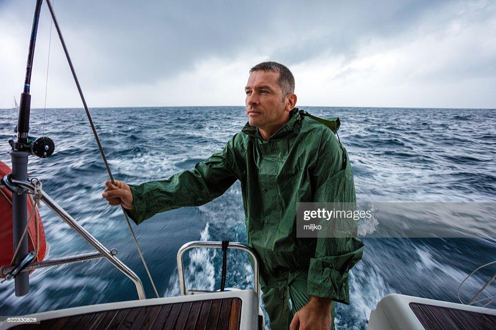 Sailing on sailboat yacht : Stock Photo