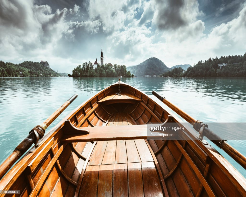 sailing on the bled lake in slovenia : Stock Photo