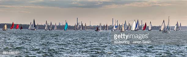 sailing panorama - isle of wight stock photos and pictures