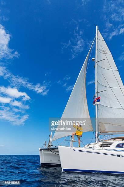 sailing - catamaran stock photos and pictures