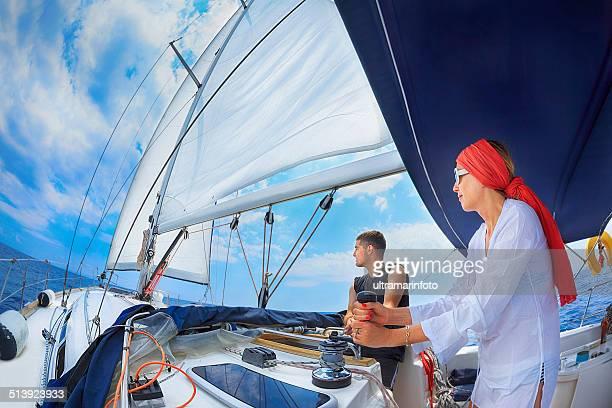 sailing - catamaran race stock photos and pictures