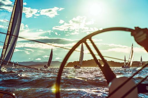Sailing regatta on sunny autumn morning 1043547396