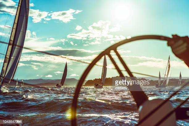 sailing regatta on sunny autumn morning - sailor stock pictures, royalty-free photos & images