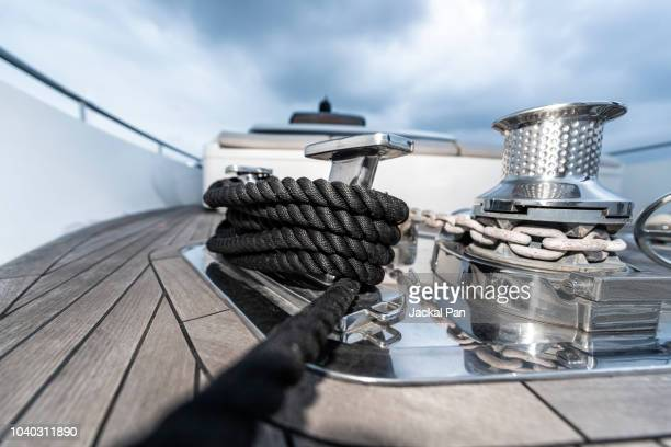 sailing rope coil and yacht cleat - moored stock pictures, royalty-free photos & images
