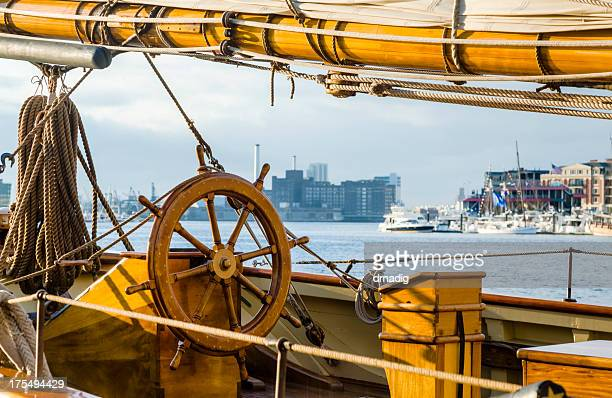 sailing ship at baltimore inner harbor - baltimore stock photos and pictures