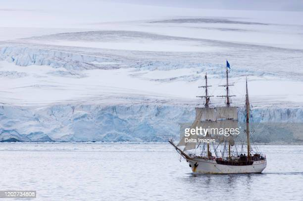 sailing ship europa, south shetlands islands, livingston island, antarctica - eismeer stock-fotos und bilder