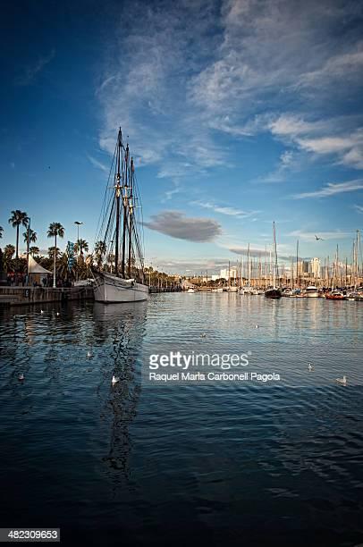Sailing ship in Barcelona port